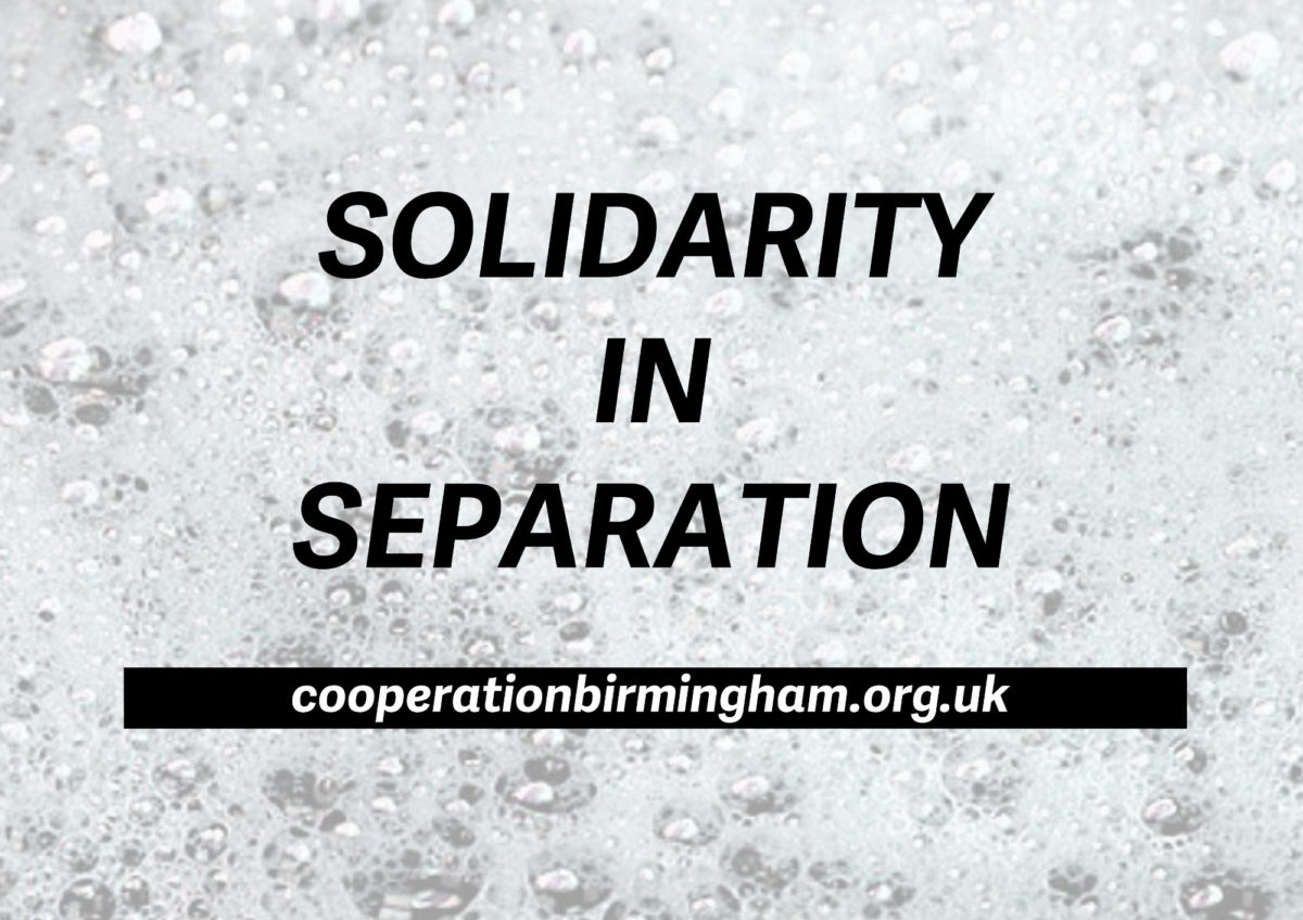 Rough logo of coop brum. It says Solidarity & Seperation and gives the website address.