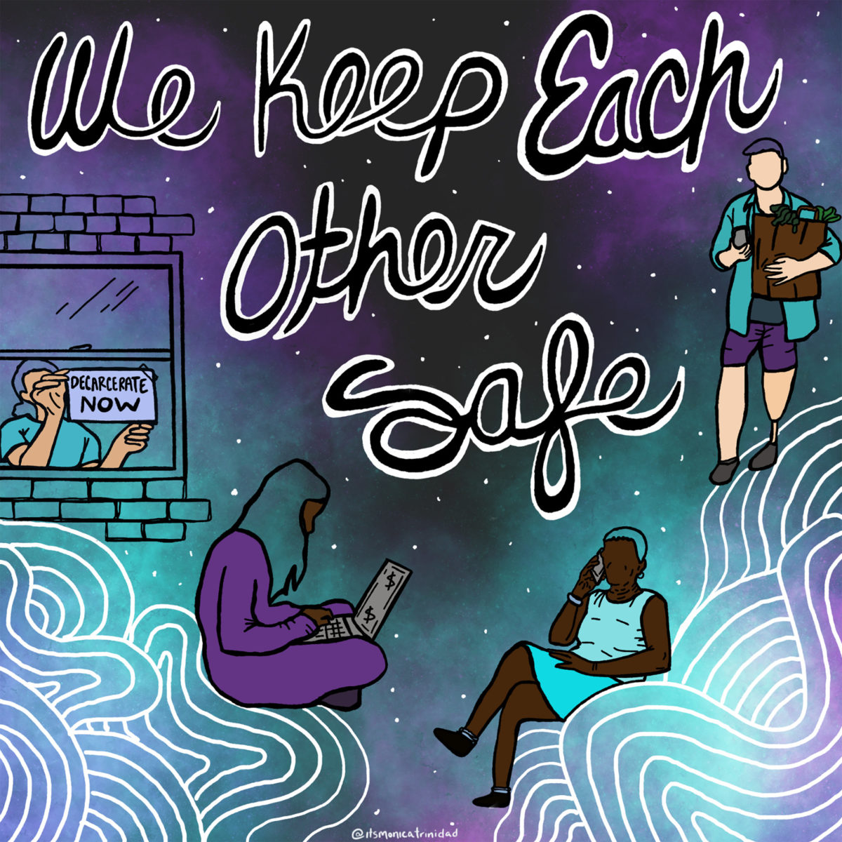 "A comic scene with four people during pandemic. The text reads ""We keep each other safe"""