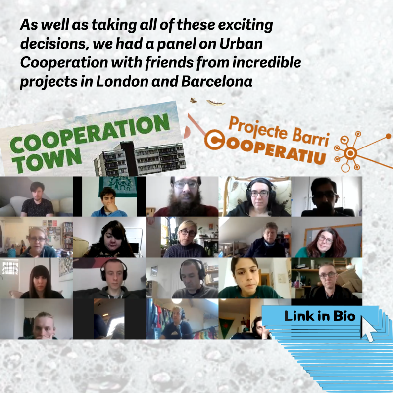 As well as making of all of these excting decisions, we had a panel on urban co-operation from Co-operation Town in London and Projecte Barri Cooperatiu in Barcelona.